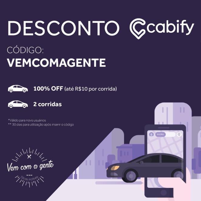 Baixe o App Cabify, utilize o código VEMCOMAGENTE e ganhe 100% de desconto nas duas primeiras corridas (Válido para clientes novos e descontos de no máximo R$10,00).