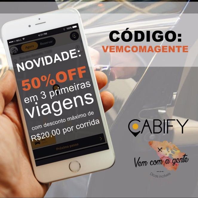 Baixe o App Cabify, utilize o código VEMCOMAGENTE e ganhe 50% de desconto nas três primeiras corridas (Válido para clientes novos e descontos de no máximo R$20,00).